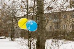 Голубой и желтый воздушный шар Стоковое Фото
