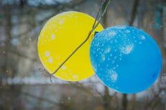 Голубой и желтый воздушный шар Стоковое Изображение RF