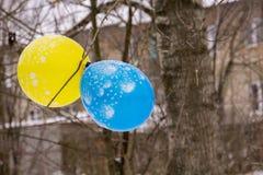 Голубой и желтый воздушный шар Стоковые Изображения RF