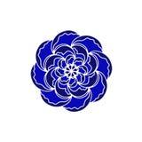 Голубой и черный логотип концепции вектора цветка органический Элемент скандинавской весны или дизайна лета флористического в мин иллюстрация вектора