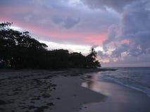 голубой карибский розовый заход солнца Стоковое Изображение