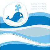 голубой кит карточки иллюстрация вектора