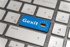 Голубой ключ входит Германию Gexit с кнопкой клавиатуры EC на современной доске Стоковые Изображения RF