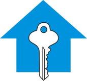голубой ключ дома Стоковое Фото