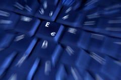 голубой ключ евро Стоковое Изображение