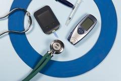 Голубой круг с некоторым оборудованием диабета делает обработку заболевание стоковое фото