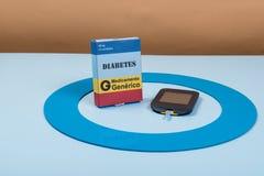 Голубой круг с некоторым оборудованием диабета делает обработку заболевание стоковые изображения rf