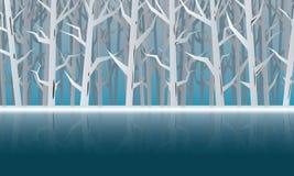 Голубой лес зимы и предпосылка холодной воды - вектор иллюстрация вектора