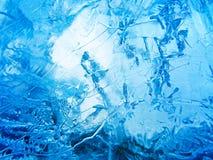 голубой льдед абстрактная текстура льда Стоковые Изображения