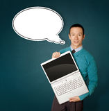 голубой мужчина компьтер-книжки комиксов пузыря Стоковое Фото
