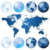 голубой набор глобуса Стоковые Фотографии RF