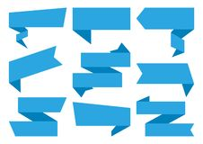 Голубой набор знамен лент также вектор иллюстрации притяжки corel иллюстрация вектора