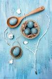 Голубой натюрморт пасхальных яя Стоковая Фотография