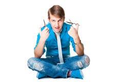 голубой носить человека парикмахера Стоковая Фотография