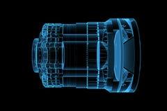 голубой объектив представил прозрачный рентгеновский снимок Стоковое Изображение RF
