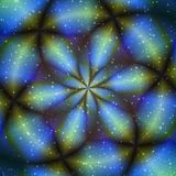 Голубой объект зарева цветка во вселенной иллюстрация штока