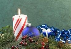 голубой орнамент рождества свечки Стоковая Фотография