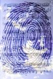 Голубой отпечаток пальцев на фоне облаков Стоковые Фото