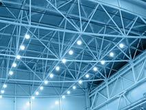 голубой пакгауз нутряного освещения Стоковые Фотографии RF
