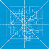 Голубой план пола, иллюстрация Стоковые Изображения RF