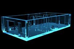 голубой плоский прозрачный рентгеновский снимок 3d Стоковое Фото