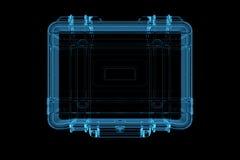 голубой представленный рентгеновский снимок чемодана 3d иллюстрация штока
