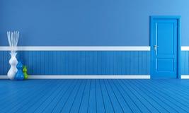 голубой пустой интерьер иллюстрация вектора