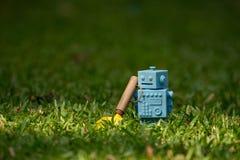 Голубой ретро робот забавляется с садовыми инструментами в естественных зеленых листьях Стоковые Изображения RF