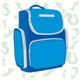 Голубой рюкзак школы на предпосылке стрелки Стоковая Фотография RF