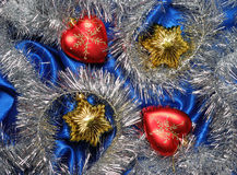 голубой сатин сердец украшения стоковое изображение rf