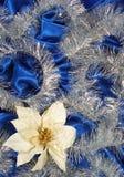 голубой сатин украшения стоковое фото