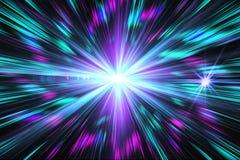 Голубой световой эффект, конспект, взрыв звезды, вспышка, лазерный луч, glit Стоковое Фото