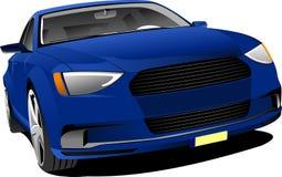 Голубой седан автомобиля на дороге бесплатная иллюстрация