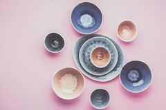 Голубой, серый dinnerware andbeige стоковое фото rf