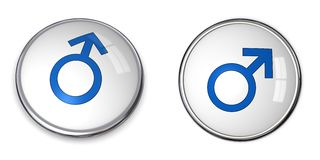 голубой символ мужчины кнопки Стоковое фото RF