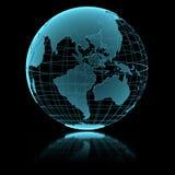 Голубой сияющий прозрачный глобус земли Стоковые Изображения RF