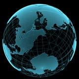 Голубой сияющий прозрачный глобус земли Стоковая Фотография RF