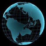 Голубой сияющий прозрачный глобус земли Стоковое Изображение RF