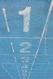 голубой след гонки номеров майн Стоковые Изображения RF