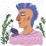Голубой с волосами мальчик с большим жуком на его плече иллюстрация штока