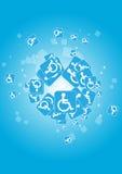 голубой с ограниченными возможностями вектор икон Стоковое фото RF
