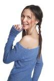 голубой темный свитер девушки Стоковая Фотография