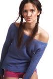 голубой темный свитер девушки Стоковое Фото