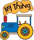 Голубой трактор моя вещь иллюстрация штока