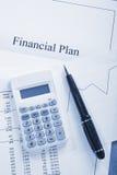голубой финансовохозяйственный тон плана Стоковая Фотография