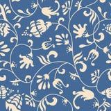 Голубой флористический орнамент Стоковые Изображения