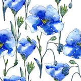Голубой цветок льна Флористический ботанический цветок Безшовная картина предпосылки Стоковое фото RF