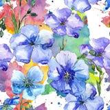 Голубой цветок льна Флористический ботанический цветок Безшовная картина предпосылки Стоковое Изображение RF