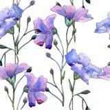 Голубой цветок льна Флористический ботанический цветок Безшовная картина предпосылки Стоковые Изображения RF