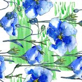 Голубой цветок льна Флористический ботанический цветок Безшовная картина предпосылки Стоковая Фотография RF